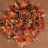 chocolate rose fall woodland bouquet