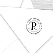 Custom address stamp round with your initials