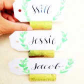Citrus Glitter Wine Cork Place Card Holders