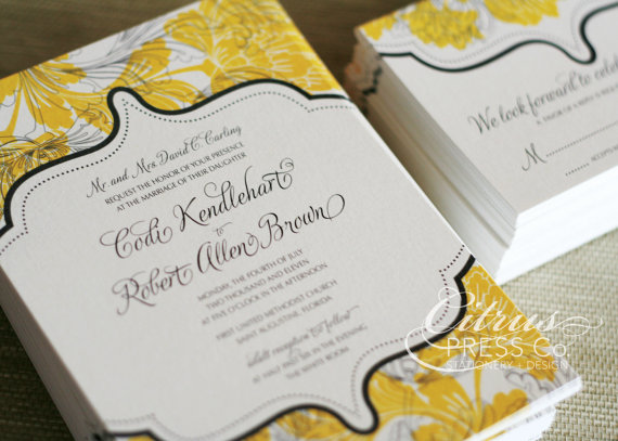 vintage floral damask wedding invitations