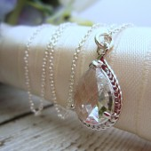 Clear Pear Shaped Bridal Necklace