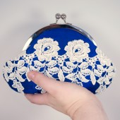 Cobalt clutch with ivory flower lace