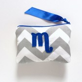 cobalt blue grey chevron personalized cosmetic bag