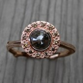 Rose Cut Cognac Diamond Halo Twig Engagement Ring
