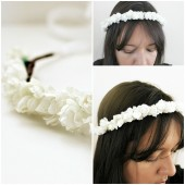 Vintage White Roses Flowers Floral Crown