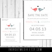 Colorful Lovebirds Save the Date