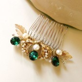 Emerald Gold and Pearls Bridal Hair comb vintage earrings headpiece Handmade weddings OOAK