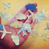airplane and cloud map confetti