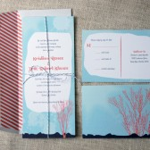 Coral Striped Wedding Invitations