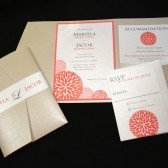 Bright Coral Wedding Invitation