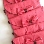 6 Cute Polka Dot Coral Pink Cotton Bow Clutch Wedding Bridesmaid Gift Handmade- free shipping in US