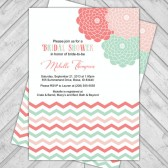 coral and mint bridal shower invite, chevron and flowers, printable