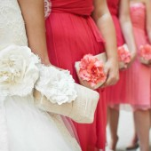Ivory and Coral bridesmaid clutches, personalized gifts for bridesmaids