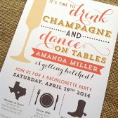 Champagne Themed Bachelorette Party / Printed Invitation / Custom Colors, Wording, Icons