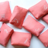Personalized Cosmetic Bags, Monogrammed Embroidered, Coral