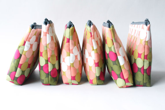 Cosmetic Bags for Bridesmaids (by Allisa Jacobs via EmmalineBride.com - The Marketplace) #handmade #wedding #bridesmaids