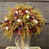 country wedding brides bouquet with sweet annie and rosebuds