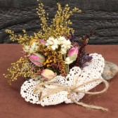country wedding corsage with sweet annie and rosebuds