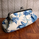 Cream blue pleated clutch
