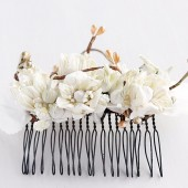 Rustic Hair Comb, Cream Flower Comb, Woodland Hair Comb