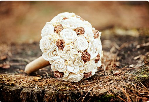 Cream Handmade Wedding Bouquet (by Curious Crafts, photo by Heather Bohm-Tallman Photography) #handmade #wedding