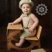 Henry Newsboy Set in Plush Cream and Caramel Herringbone