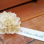 Cream Wooden Place Card Flowers