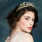 Adeline Crown, Gold Headband, Crystal Hair Band,  Modern Crown, Pearl Tiara, Bridal Crown, Whimsical Crown