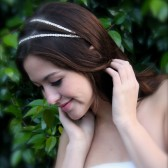 Vintage Style Double Headband Crystal Bridal Headband, Headpiece, Crystals bands, ribbon tie headpiece, 1920's Headpiece
