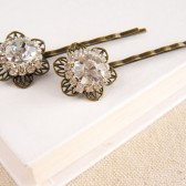 Rhinestone Flower Hair Pins