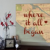 Vintage Custom Map of where it all began with heart