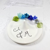 Personalized blue flowers wedding ring holder with initials or monogram