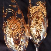 Custom Champagne Flutes- Hand painted in henna style designs, dishwasher safe option to personalize