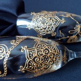 Custom Champagne Flutes- Hand painted in henna style designs, dishwasher safe option to personalize. All one of a kind. toasting flutes.