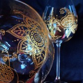 Custom wine glass set in Henna style designs of paisleys and flowers.Wedding glassware.Hand painted, crystal glass, dishwasher safe option to personalize, bridesmaid gift