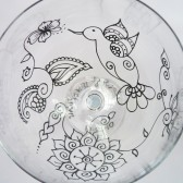 Custom wine glass set in Henna style designs. hummingbird & flowers. Wedding glassware.Hand painted, crystal glass, dishwasher safe option to personalize, bridesmaid gift