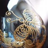 Custom Champagne Flutes- Hand painted in henna style butterfly & flower designs, dishwasher safe option to personalize