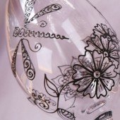 Custom wine glass set in Henna style designs. Dragonfly & flowers. Wedding glassware.Hand painted, crystal glass, dishwasher safe option to personalize, bridesmaid gift