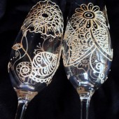 Bride & Groom Champagne Toasting Flutes- Custom hand painted in henna style designs, pearl white finish. dishwasher safe option to personalize