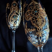 Bride & Groom Champagne Toasting Flutes- Custom hand painted in henna style designs, dishwasher safe option to personalize and add Swarovski crystals