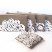 Vintage Doily Clutch and Ring Bearer Pillow