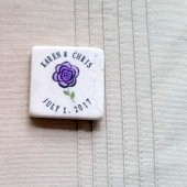 Personalized Wedding Favor Magnets - Purple Flower Design