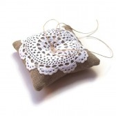 Vintage Doily Linen Burlap Ring Pillow