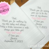 Dad & Father In-Law Personalized Embroidered Wedding Handkerchiefs
