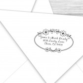 Custom address stamp with cute daisy border