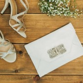 JEWELLED LOVELETTER CLUTCH : IVORY