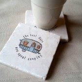 Personalized Camper Drink Coasters - Gift for the Couple