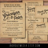 Vintage Typography Wedding Invitation Suite