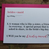 Definition Bridesmaid, Maid or Matron of Honor Wedding Party Card