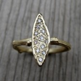 Diamond Leaf Engagement Ring, Canadian Diamonds
